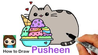 How to Draw an Ice Cream Sundae with Pusheen easy