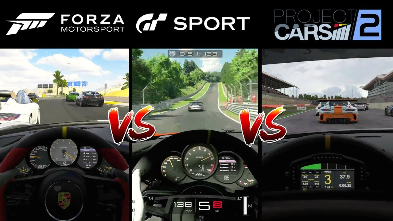 Forza 7 Vs Gt Sport Vs Project Cars 2 Full Graphics Comparison Youtube