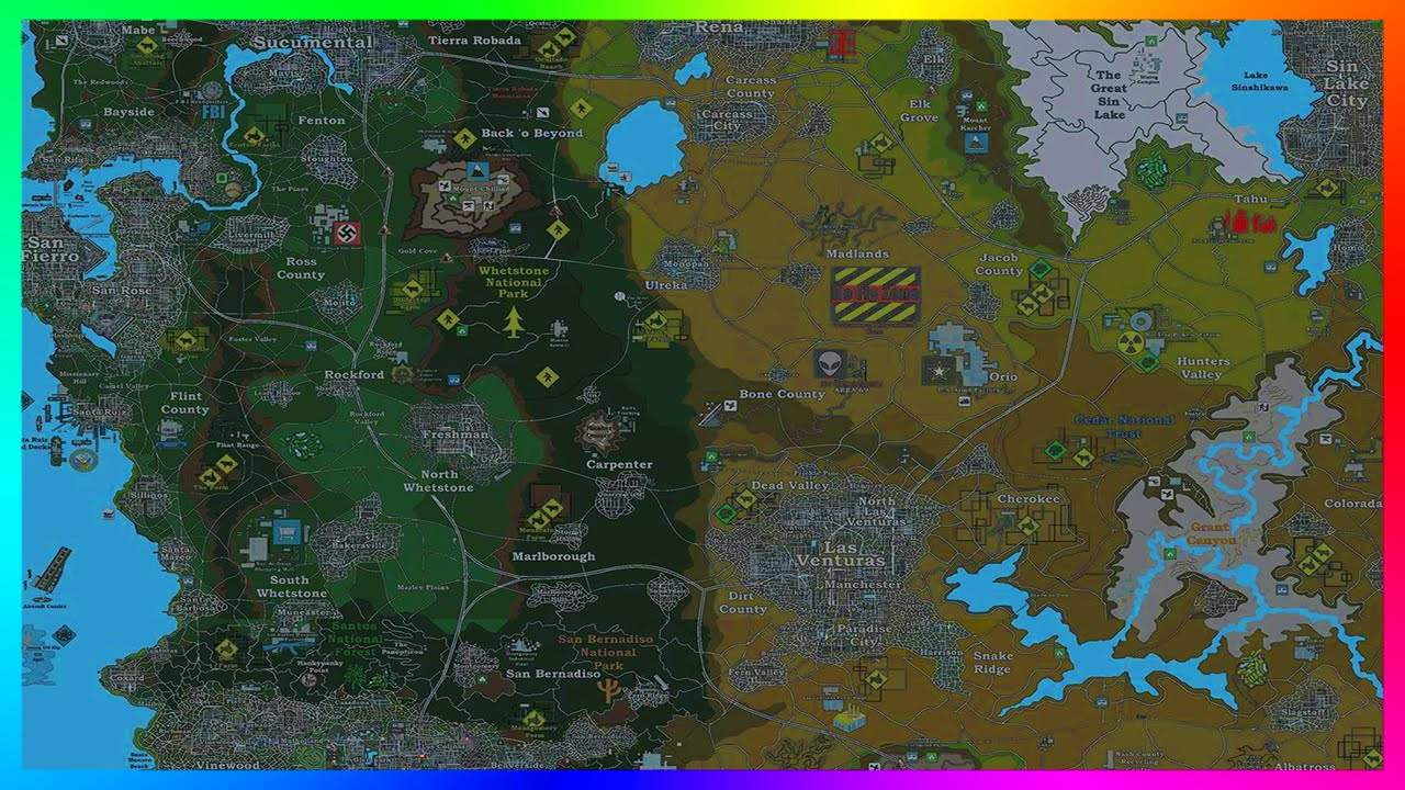 Most Incredible ULTIMATE GTA USA World Map With Over Cities - Usa map world