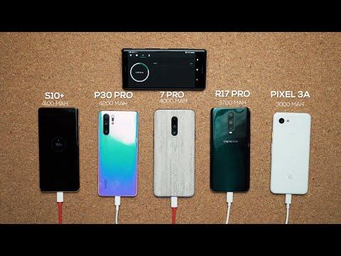 OnePlus 7 Pro vs Galaxy S10+ vs P30 Pro vs Pixel 3A Charge Test!