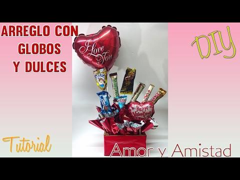 DIY Arreglo de dulces y globos Dia del Amor - Ideas San Valentin