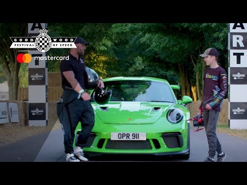 Drone v Porsche 911 GT3 RS hillclimb