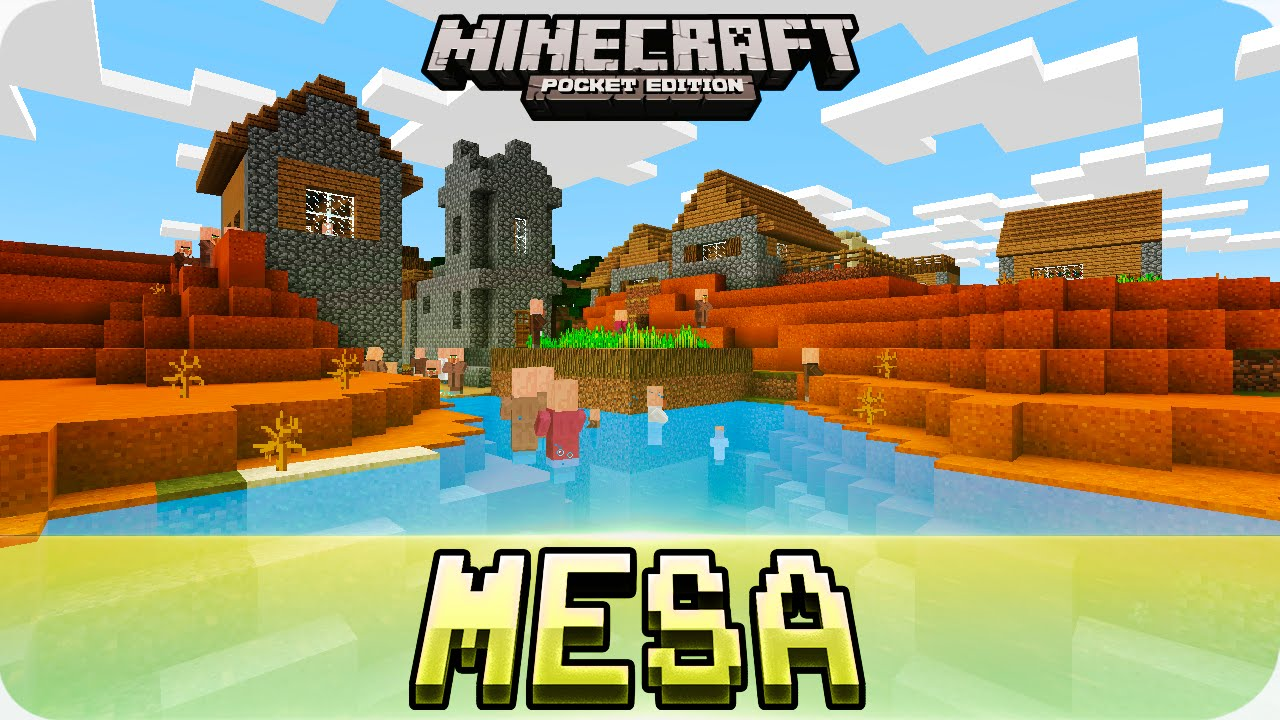 Minecraft PE Seeds - Village in Mesa Biome with Desert Temple Seed! 9.9.9  / 9.9.9 MCPE