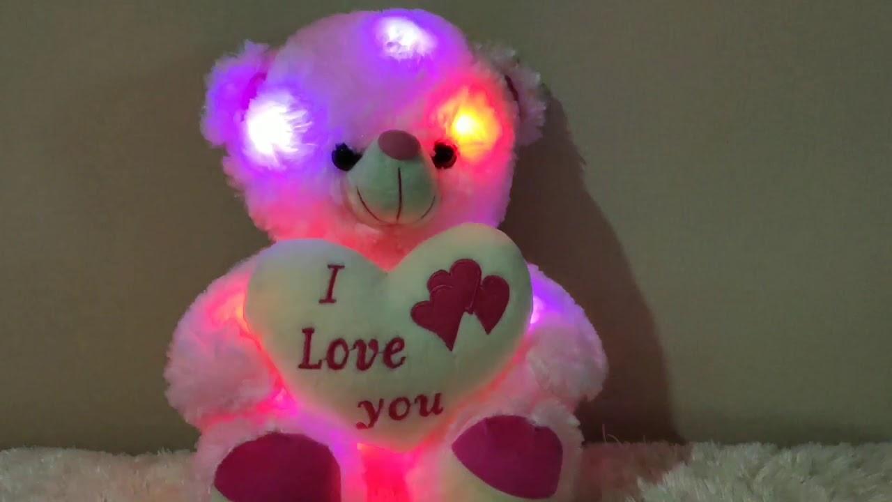 Boneka beruang Pink LED dan bersuara i love you   Creative LED Up LED Bear Plush Toy