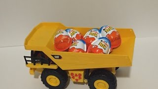 Kinder Joy Surprise eggs for boys in a Cat Dump Truck Oua cu surpriza яица с сюрпризом