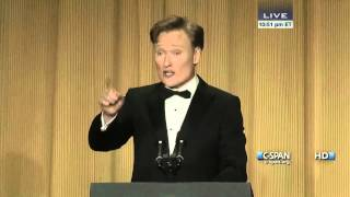 From C-SPAN coverage, Conan O'Brien remarks at the 2013 White House Correspondents' Dinner. Watch the complete video here: http://cs.pn/1886TAu.