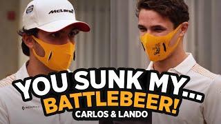 Carlos Sainz and Lando Norris play Estrella Galicia 0,0's Battlebeers