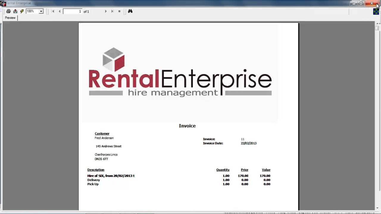 Rental Enterprise How to ammend the booking invoice report - YouTube