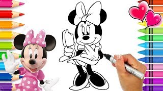 Minnie Mouse Coloring Page with Glitter | Mickey Mouse Clubhouse Coloring Book | Disney Junior