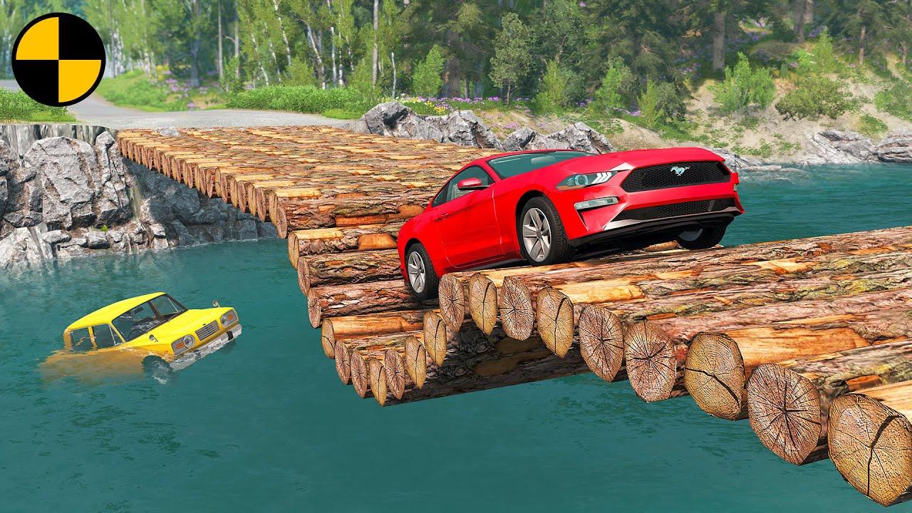 Cars vs Log Bridge with Reverse Speed Bumps 😱 BeamNG.Drive