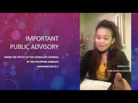 IMPORTANT PUBLIC ADVISORY: Office of the Consulate General in the Philippine Embassy, Washington D C