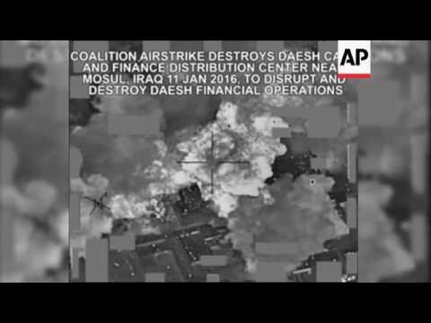 Raw: Coalition Airstrike Destroys IS Cash Center