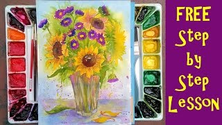 live 12 30pm et birthday sunflowers watercolor free class worldwatercolormonth