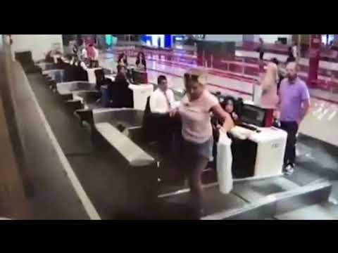 Kat Jackson - 1st Time Flyer - Gets On Conveyor Belt
