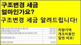 구조변경 세금 계산방법 알려드립니다.