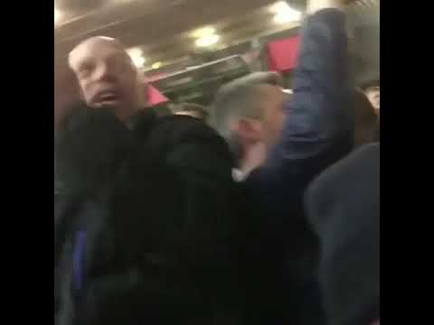 """Manchester City fans at Old Trafford singing """"Park the bus Man United"""""""