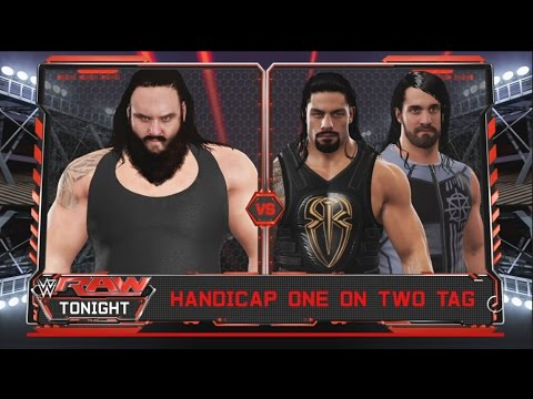 WWE 2K17 -Braun Strowman vs. Roman Reigns & Seth Rollins -Handicap Match- RAW (PS4)
