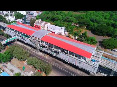 Aerial view of Pune Metro work progress from PCMC to Civil Court Route - November 2020