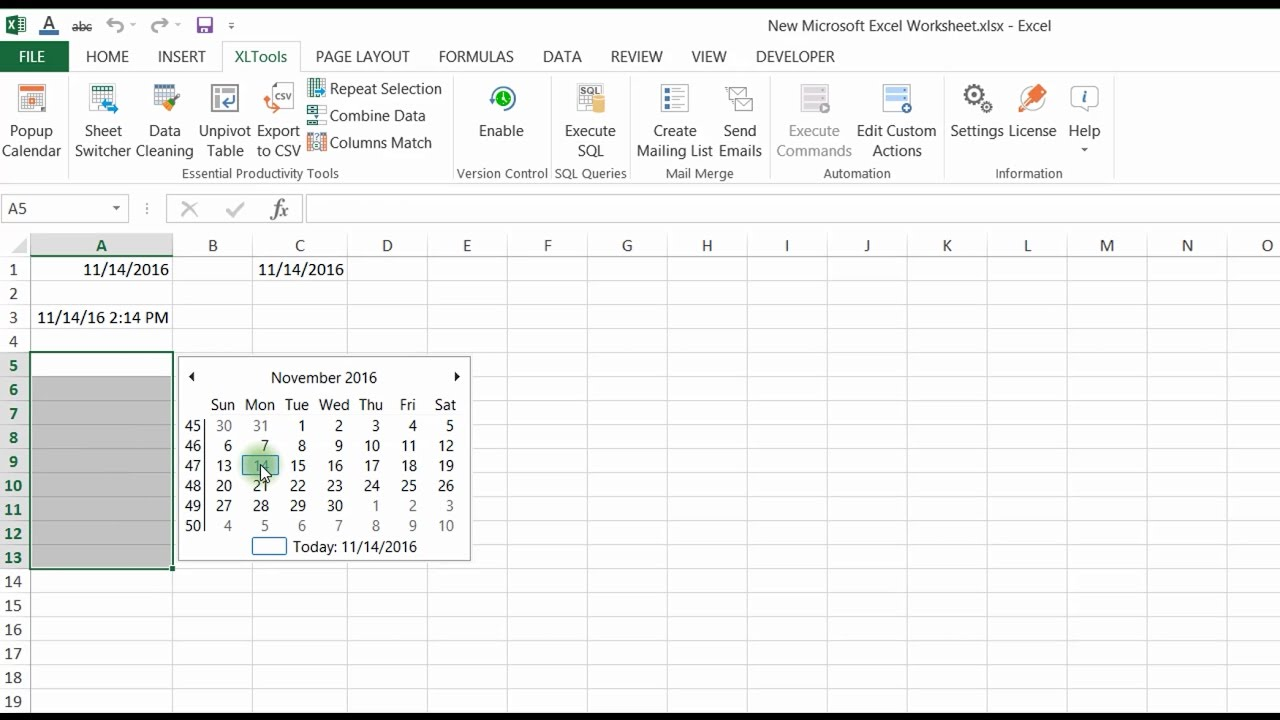Calendario In Excel 2020.Popup Calendar For Excel Xltools Excel Add Ins You Need