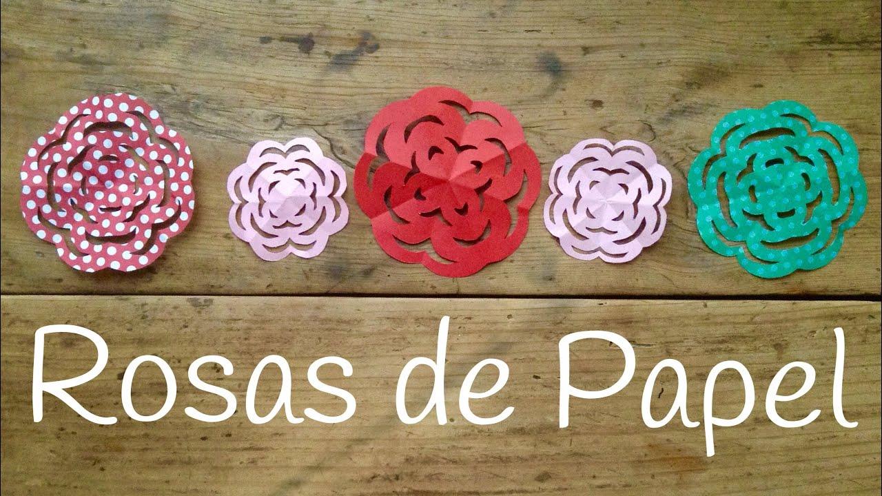 Rosa de papel facil y rapida | Kirigami para niños paso a paso - YouTube