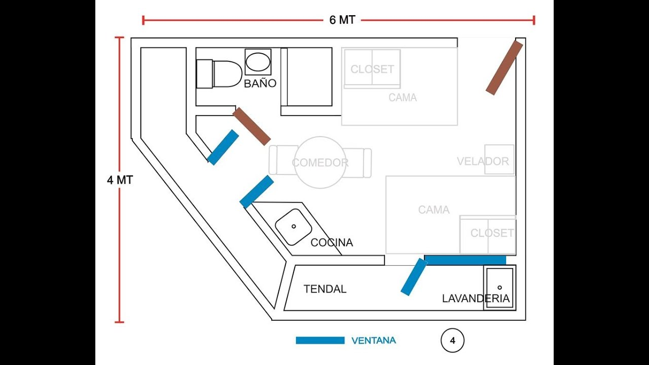 Minidepa 1 pieza 304 c ba o c cocina c lavander a for Plano de pieza cocina y bano