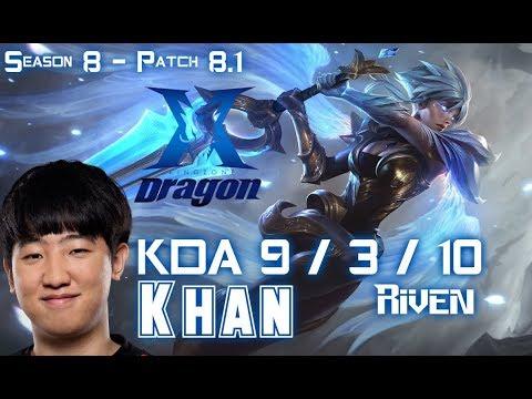 KZ Khan RIVEN vs JAX Top - Patch 8.1 KR Ranked