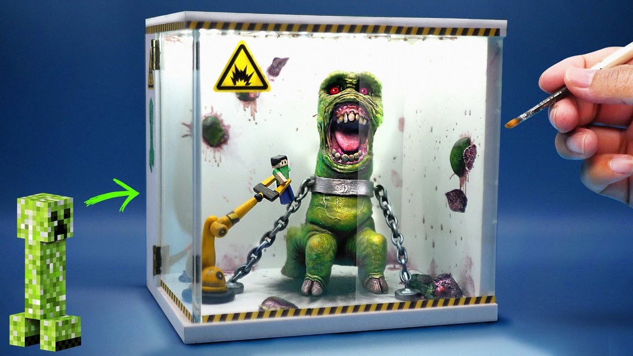 How To Make Realistic MINECRAFT Creeper In the Laboratory Diorama / Polymer Clay