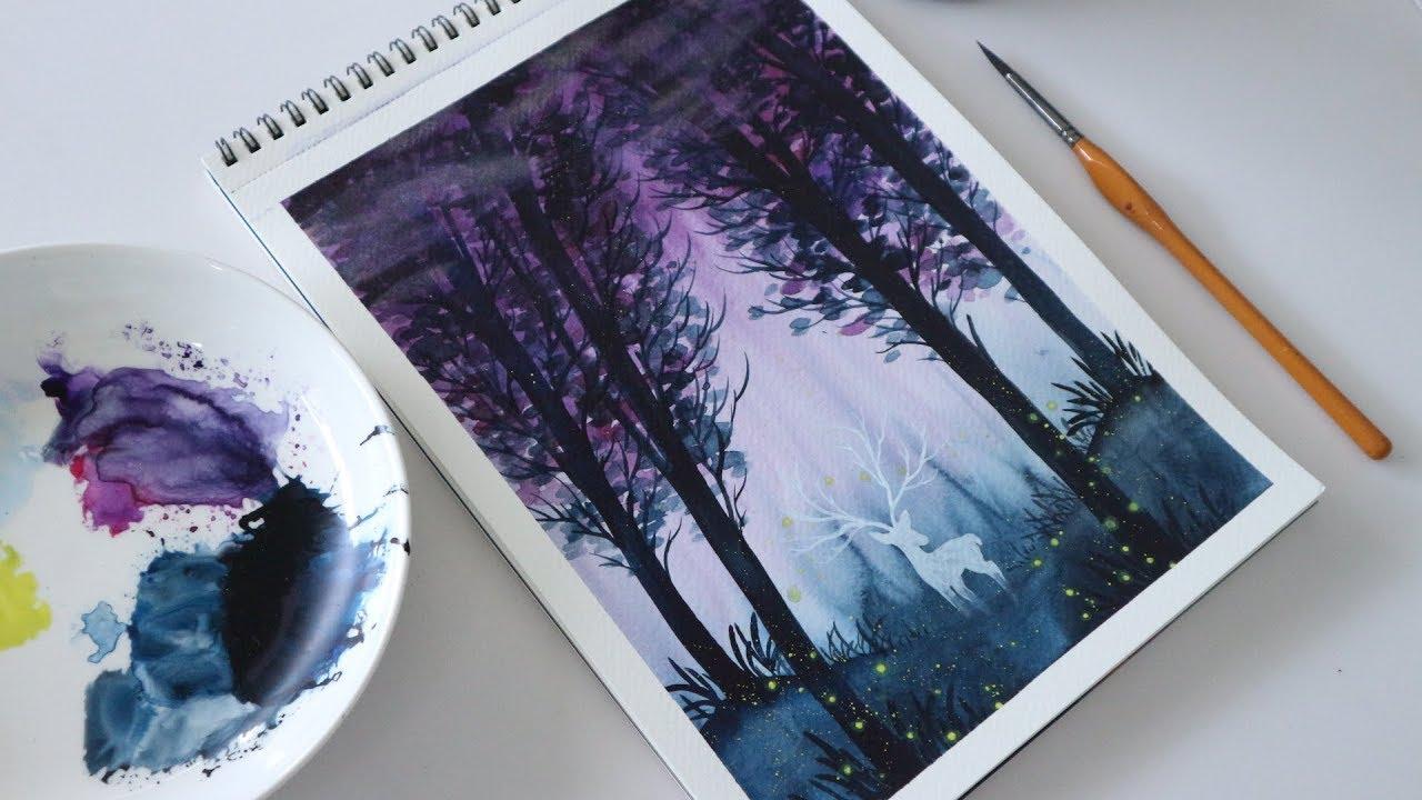 ART#10| Vẽ tranh phong cảnh bằng màu nước | Watercolor Tutorial| Landscape