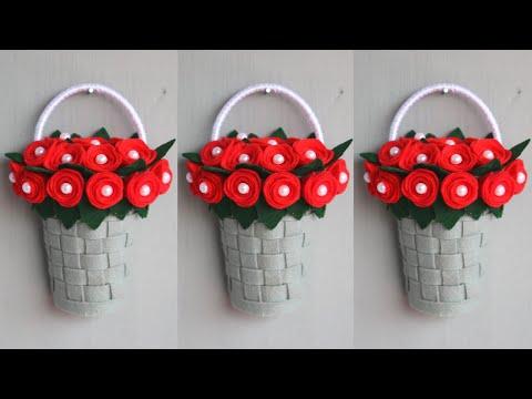 Diy bunga gantung dari kain flanel | hiasan dinding dari kain flanel | diy wall hanging