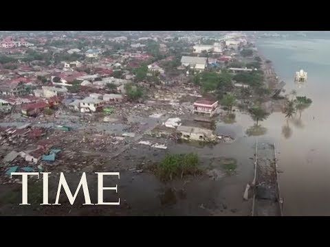 Drone Footage Shows The Devastating Aftermath Of The Tsunami In Palu, Indonesia | TIME