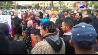 الوطنية بريس - وقفة احتجاجية للتضامن مع معتصمي جبل عوام بمريرت و كلمة الجمعية المغربية لحقوق الإنسان