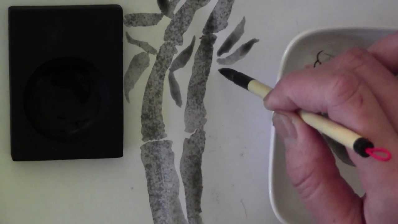 Japanese/Chinese Brush Calligraphy Ink Stick & Bamboo Painting ...