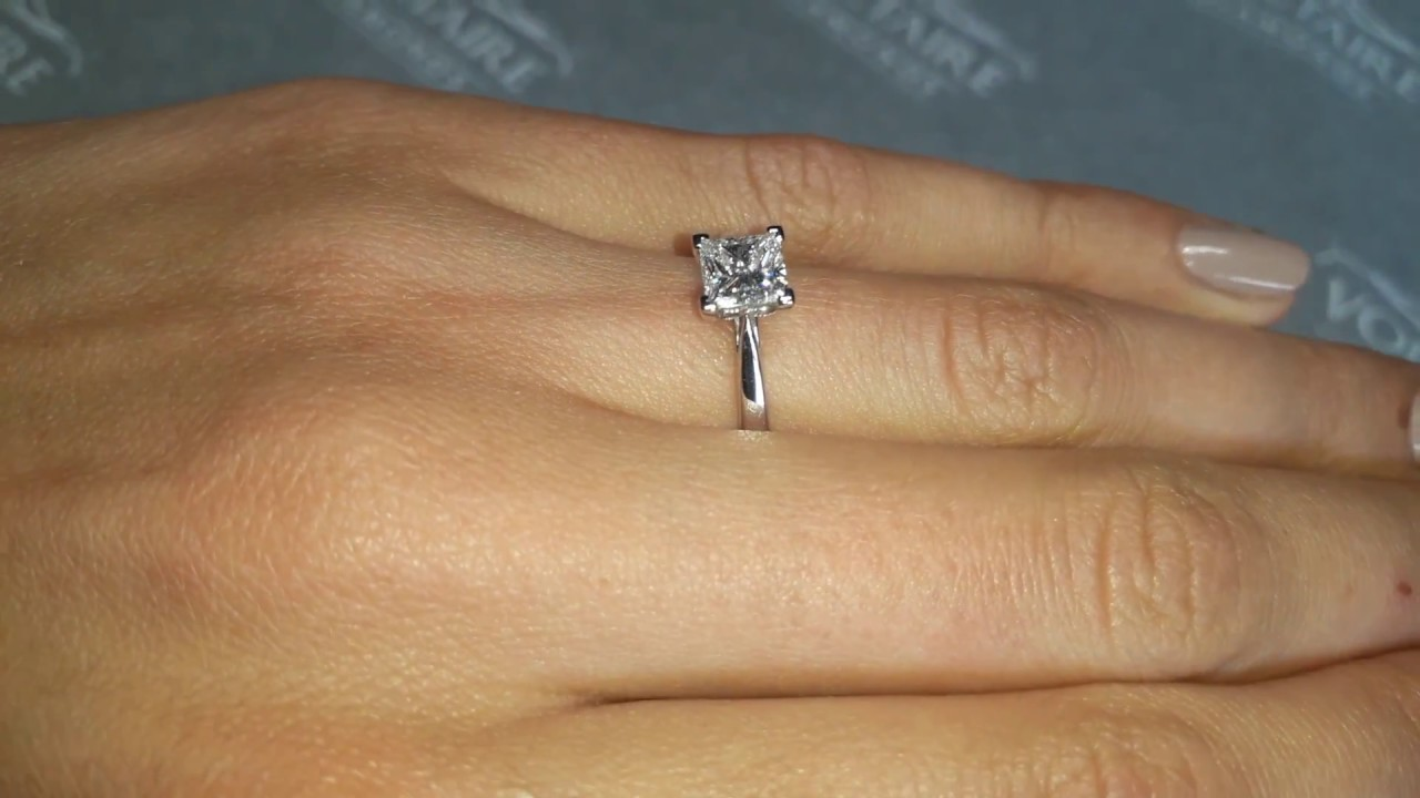 Princess Cut Diamond Solitaire Engagement Ring With Thin Tapered Band Er 1019