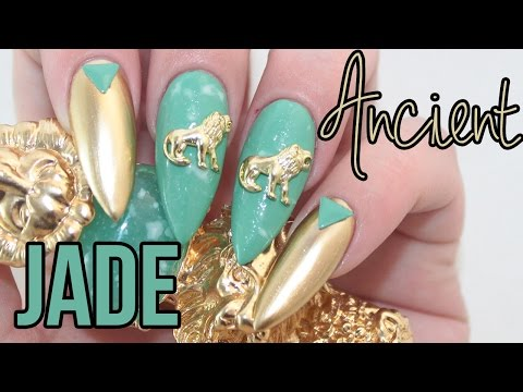 HOW TO: Metallic Ancient Jade Acrylic Nails Tutorial
