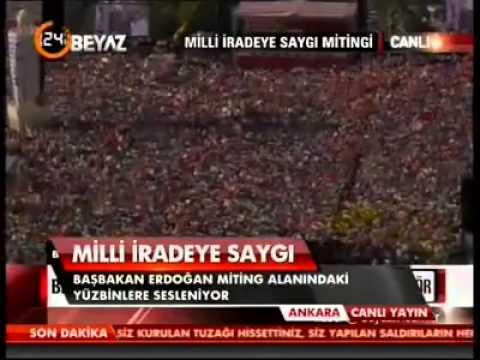لقطات من طيارة هليوكوبتر للحشود حول خطاب أردوغان