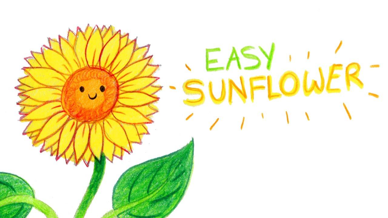 How to draw a cute sunflower easy way comment dessiner - Comment dessiner un tournesol ...