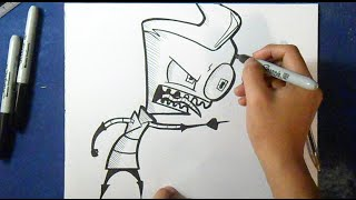 "Cómo dibujar a Zim ""Invader zim"" 
