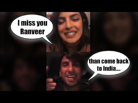 Priyanka Chopra And  Ranveer Singh Live Video Chat on Instagram