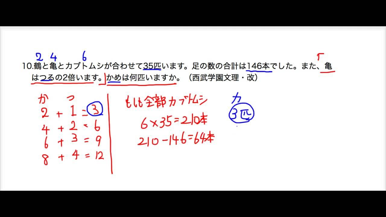 鶴亀算10 ふるやまんの數學塾 - YouTube
