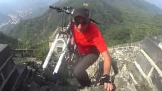 Cycling on the great wall of china