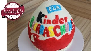 Kinder Surprise Egg Cake with whipped cream How To - no fondant - EN Subtitle