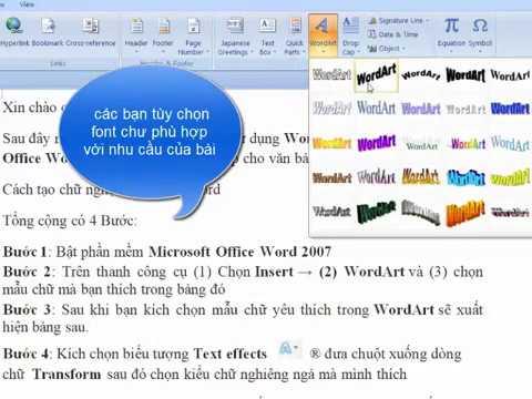Hướng dẫn tạo chữ nghệ thuật trong word 2007