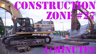 Trucks for Kids - Construction Zone 27 - Giant Excavator, Breaker and Claw Crossing Roadway