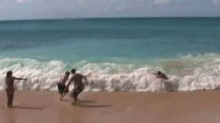 Hit by waves at TUNNELS beach Kauai, hawaii
