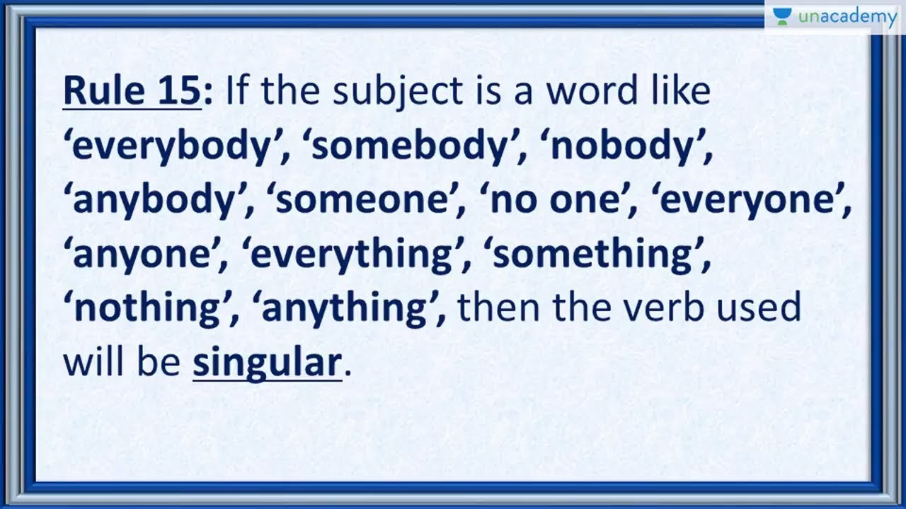 Subject Verb Agreement Rule 15 Everybody Somebody Nobody