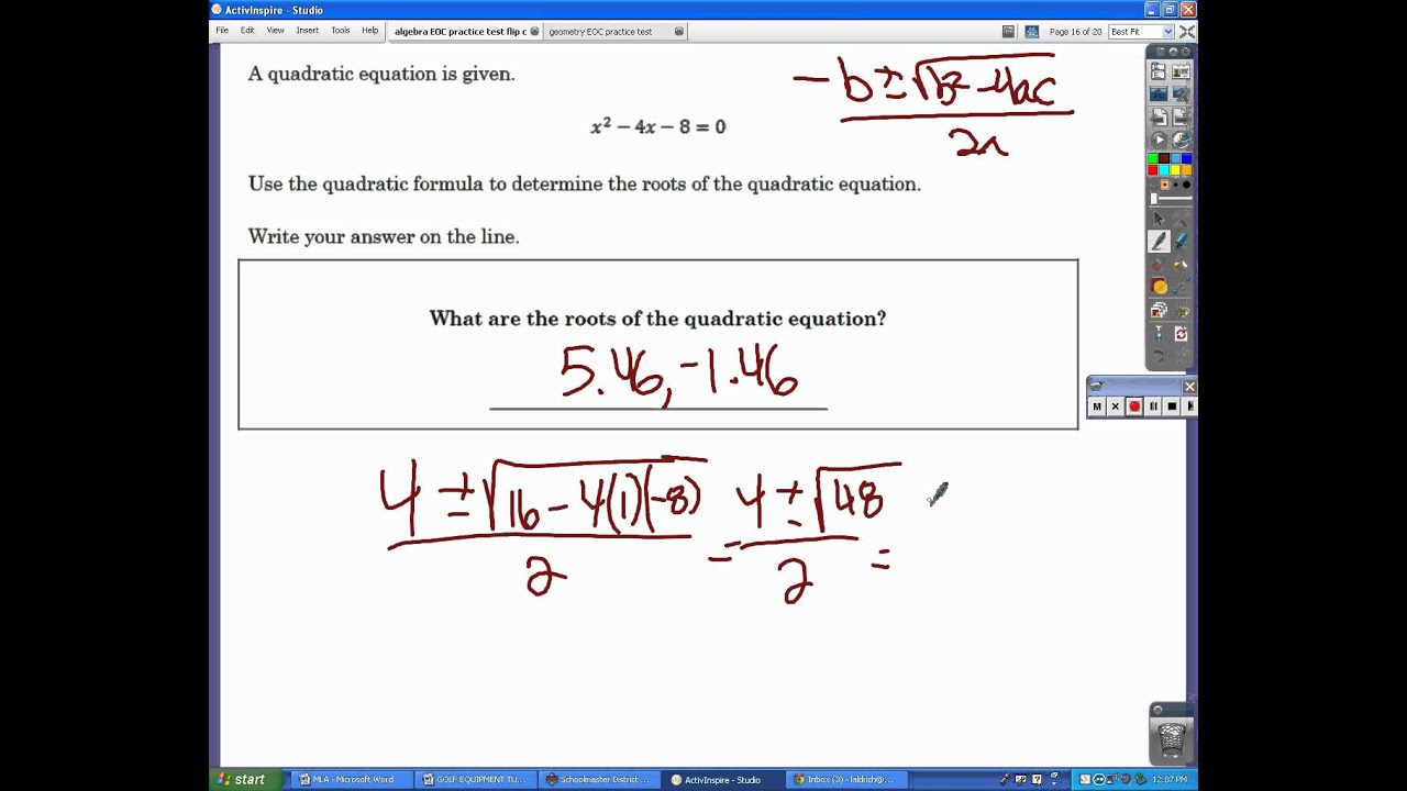 Algebra Eoc Exam Practice Test Avi