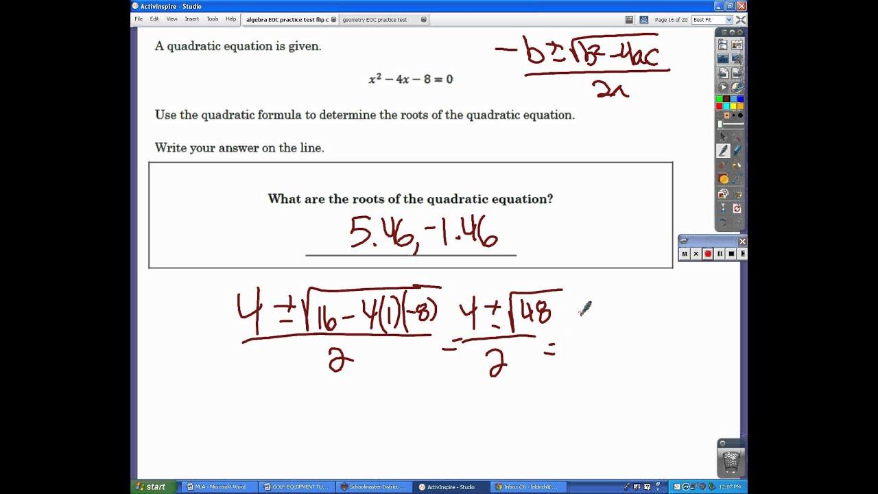 Algebra EOC exam practice test.avi - YouTube