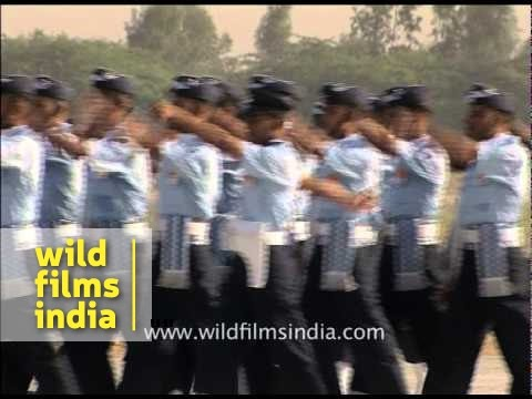 IAF soldiers marching off on the occasion of Air Force day