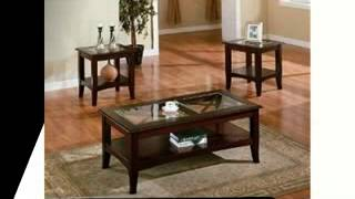 3pc Contemporary Cappuccino Coffee & End Table Set W/glass Insert, Limited Seat