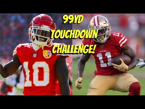 WHO CAN GET A 99YD TOUCHDOWN FIRST?!? TYREEK HILL VS MARQUISE GOODWIN!! *FASTEST PLAYERS IN GAME*
